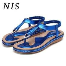 9138674252cc NIS Elastic Clip Top Women Sandals Summer T-strap Flip Flops Flat Sandals  Beach Shoes