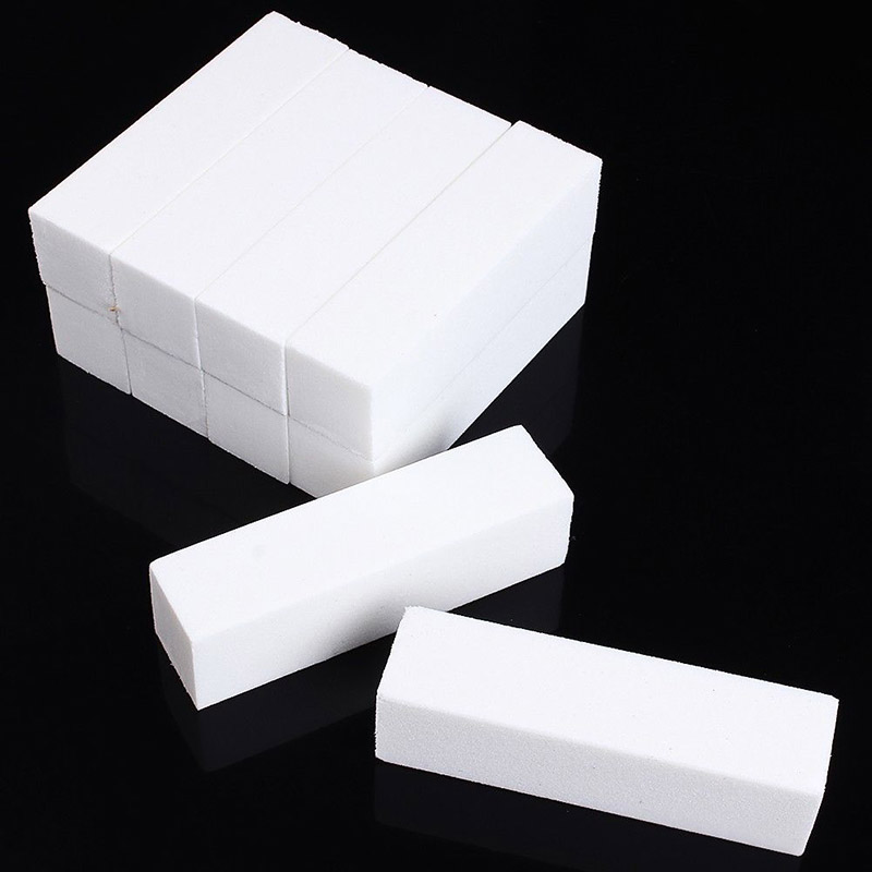 10pcs White Sponge Buffer Buffing Block Sanding Files Nail Art Tips Useful Manicure Tool New Arrival