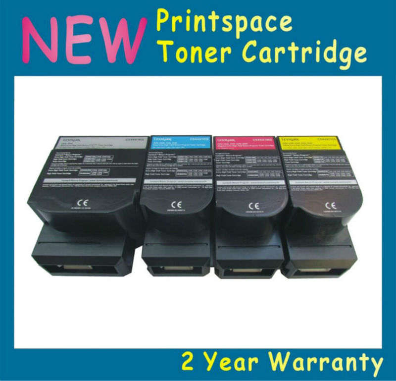 4pc 2.5k/2k Toner Cartridges For Lexmark C540 C540n C543 C544 C546 X543 X544 X546 X548 Ink KCMY