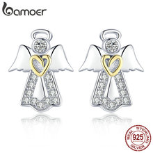 27d276b35 BAMOER Hot Sale Genuine 925 Sterling Silver Guardian Angel Exquisite Stud  Earrings for Women Fashion Silver