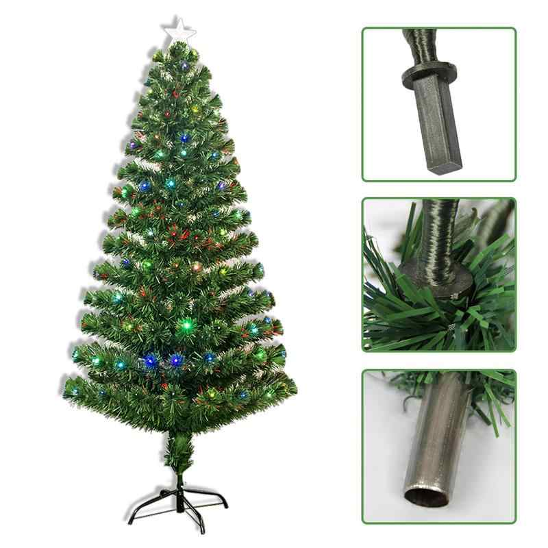 Last Day To Ship For Christmas 2019.Ship From Uk 2019 New Year Xmas Christmas Tree Iron Stand 1 2m 1 5m 1 8m 2 1m Colorful Optic Fiber Lamp Green Home Decoration