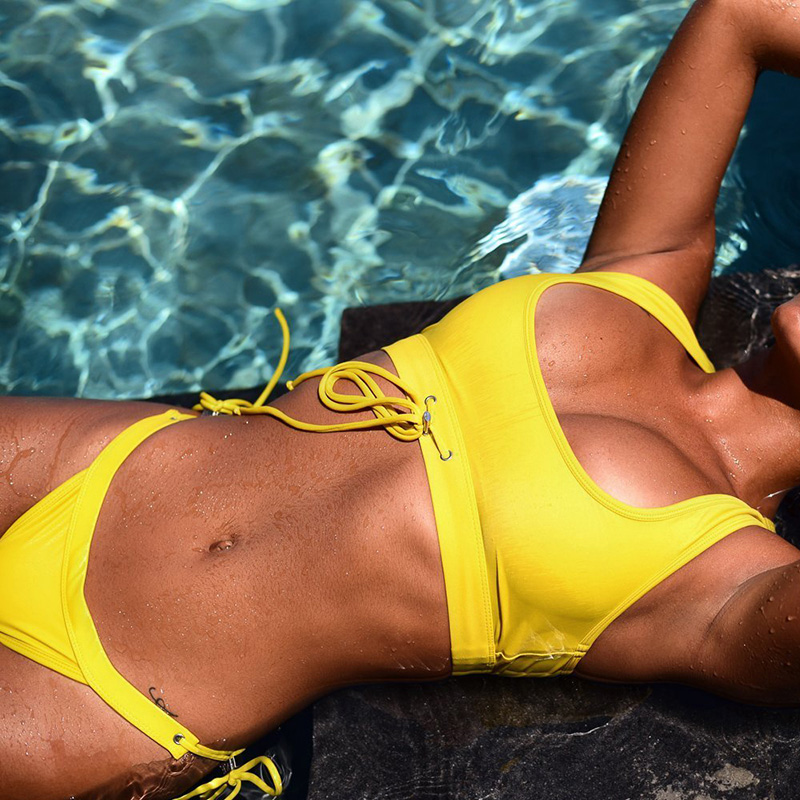 Vrouwen Tweedelige Bikini Set Solid Draadloze Gewatteerde Onder Bustband Bandage Backless Lage Taille Sexy Badpak Beach Wear Tuur 100% Garantie