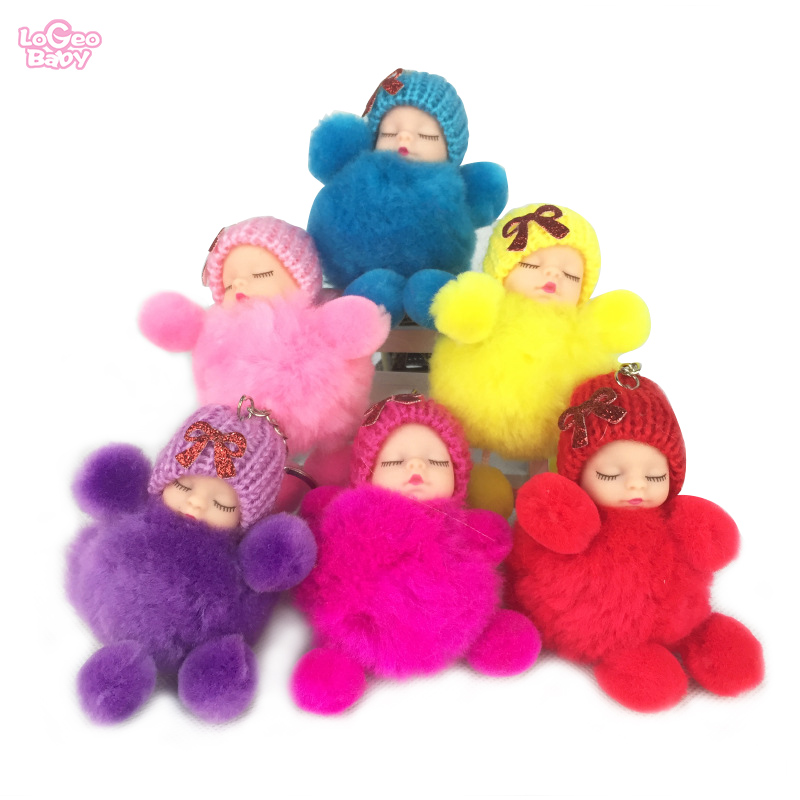 Cute plush toys Sleeping Doll Baby Girls Bag Pendant Keychain Plush Newborn Mini Dolls pendants gifts