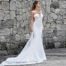 Lorie Mermaid Wedding Dresses Turkey 2019 Appliques Lace Custom Made Bridal Dress Gown Vestidos De Noiva Plus Size