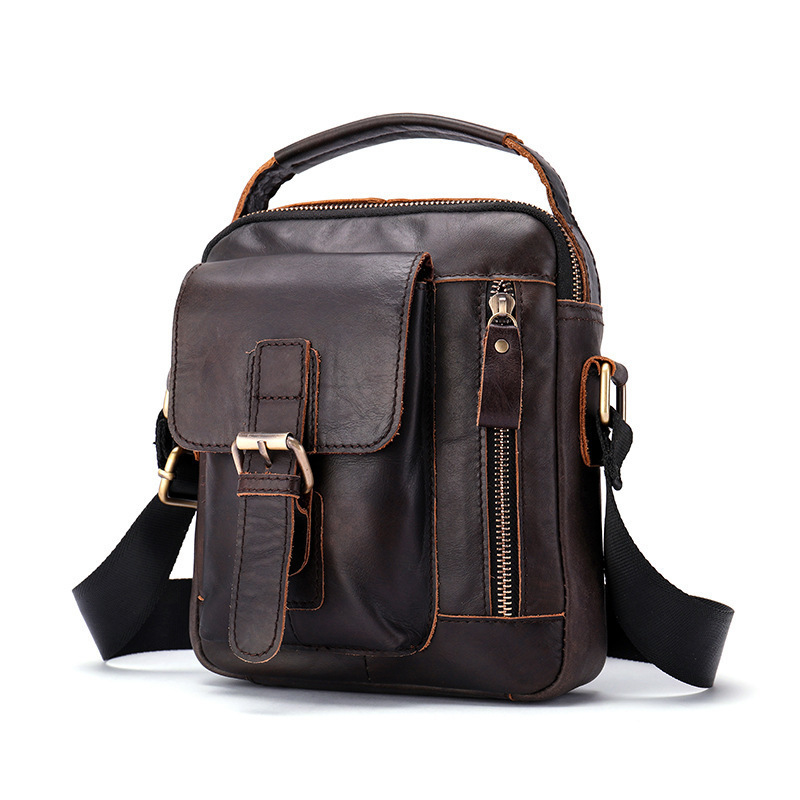 2018 Men s Shoulder Bag Genuine Leather Messenger Bag Vintage Men s Hand Bags Leather Flap