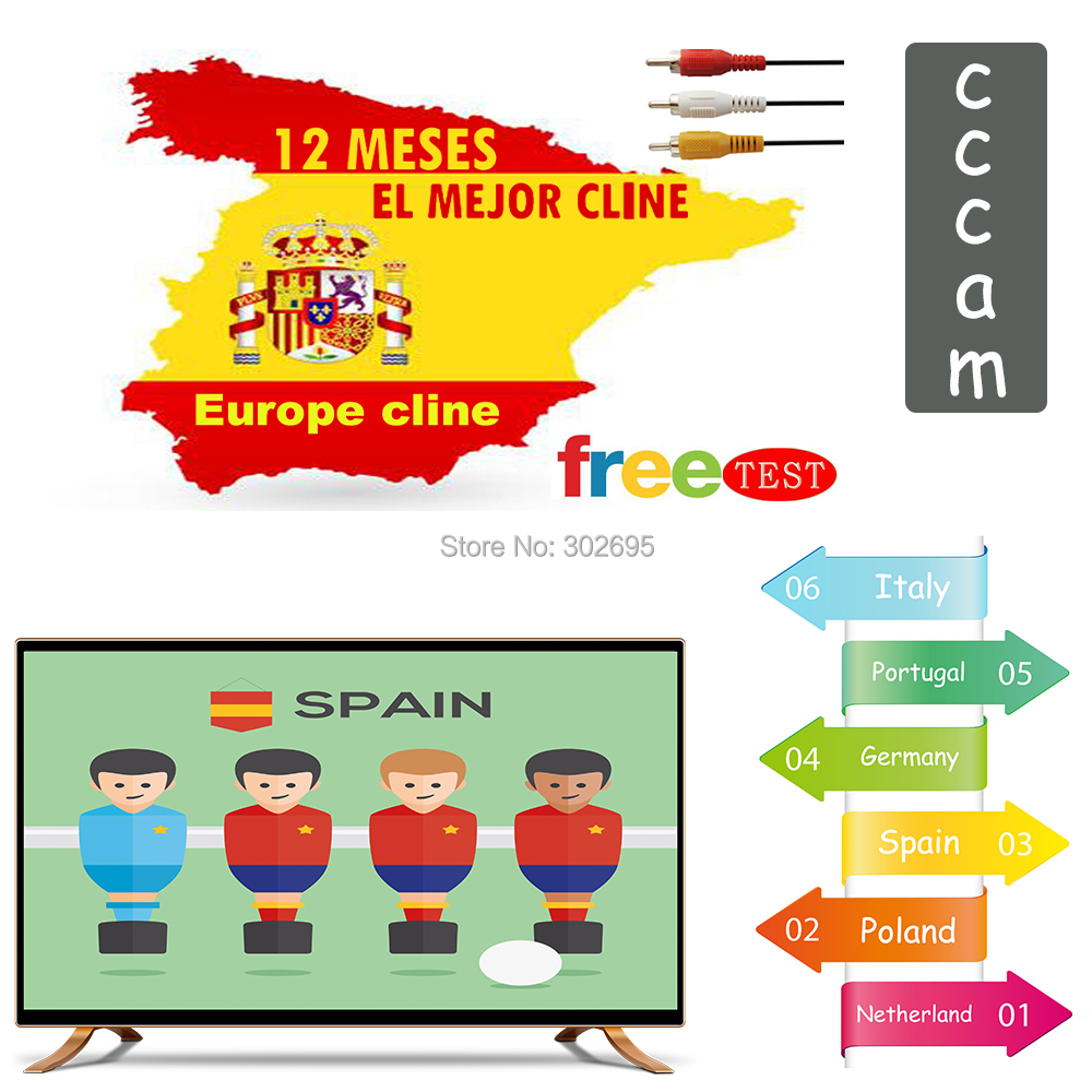 Europe Clines Cccam Cline For 1 Year Europe Cccams Spain Work Well For Dvb-s2 Decoder Freesat V7 Gtmedia V8 Nova 5/6 Cables