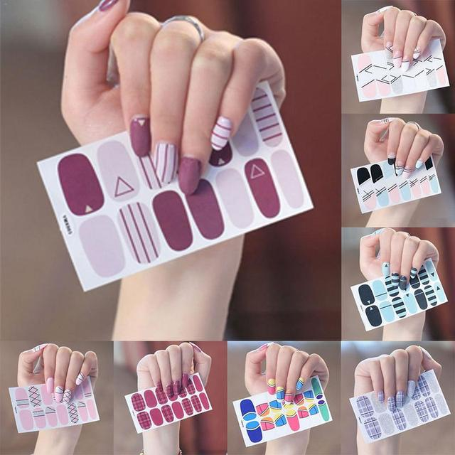 1 piezas de belleza de uñas de arte pegatinas de la cubierta completa etiqueta envuelve decoración manicura bricolaje Slider uñas vinilos adhesivo uñas calcomanías