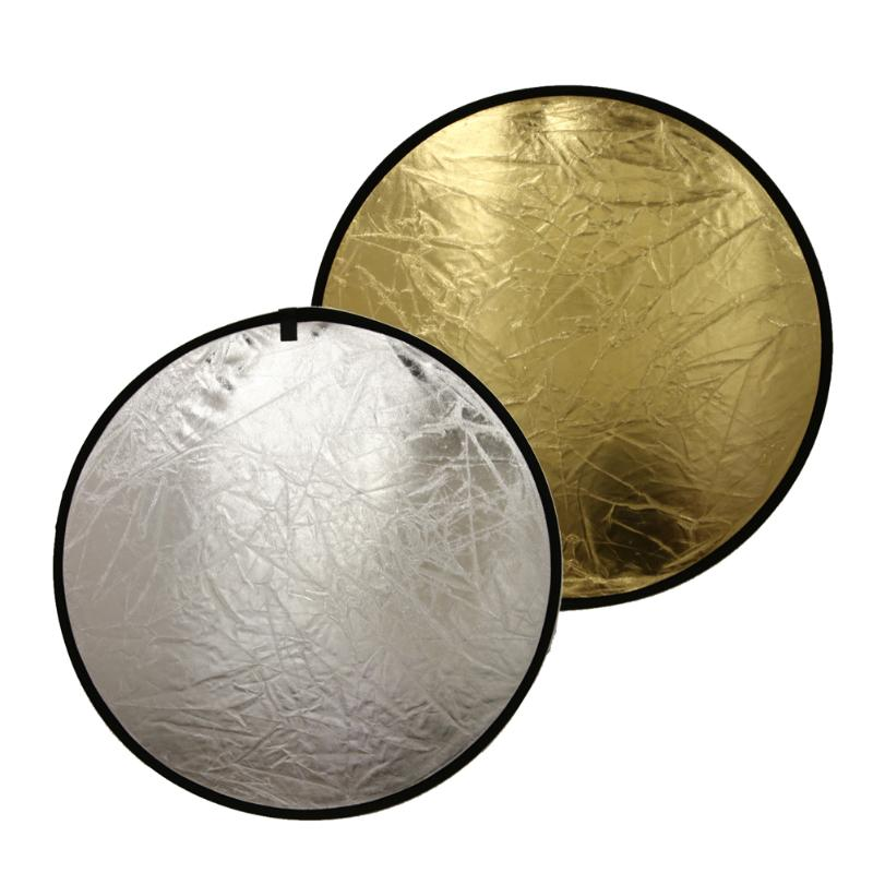 60cm 2 In 1 Light Multi Collapsible Disc Reflect Round Photography Reflector Gold Silver Studio Diffuers Photo Accessories