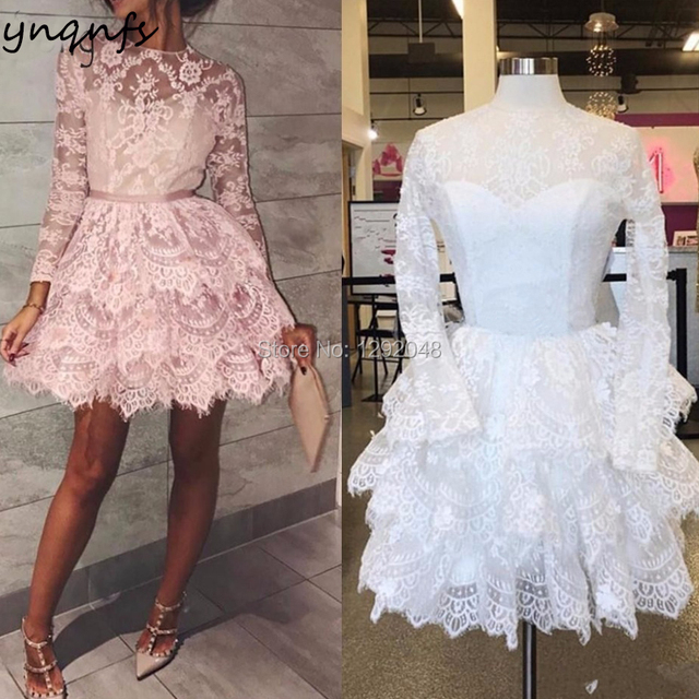 YNQNFS E15 Elegant French Lace Tiered Ball Gown Long Sleeve Short Pink Lace Cocktail Dresses 2019
