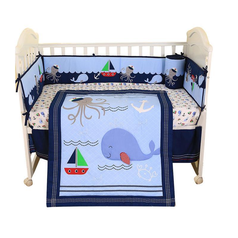 Детские постельные принадлежности, четыре предмета, Детские удобные бамперные прокладки, простыня для кровати, набор постельного белья для
