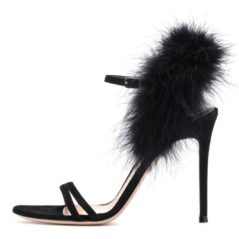 Moraima nsc 2019 summer fashion temperament wild solid color blue feathers high heel womens shoes concise party sandalsMoraima nsc 2019 summer fashion temperament wild solid color blue feathers high heel womens shoes concise party sandals