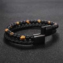 men natural stone leather bracelet(China)