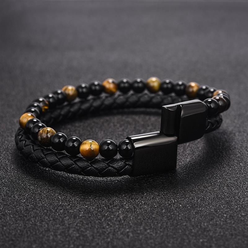 men natural stone leather bracelet(China)