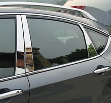 цена на 8pcs for FAW BESTURN X80 2013-2017 Window trim Middle column Decorative strip Stainless steel black silver