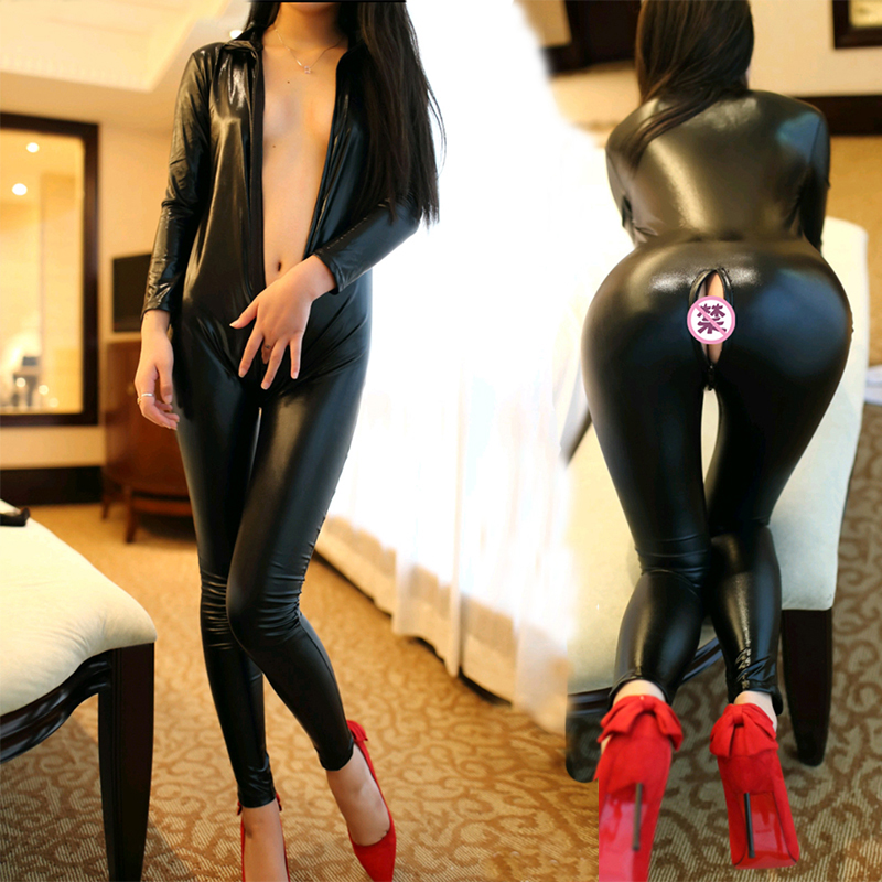 Sexy Faux Leather Rompers Catwomen Jumpsuit Long Sleeve Zipper Open Tights Black PU Full Bodysuit Playsuit