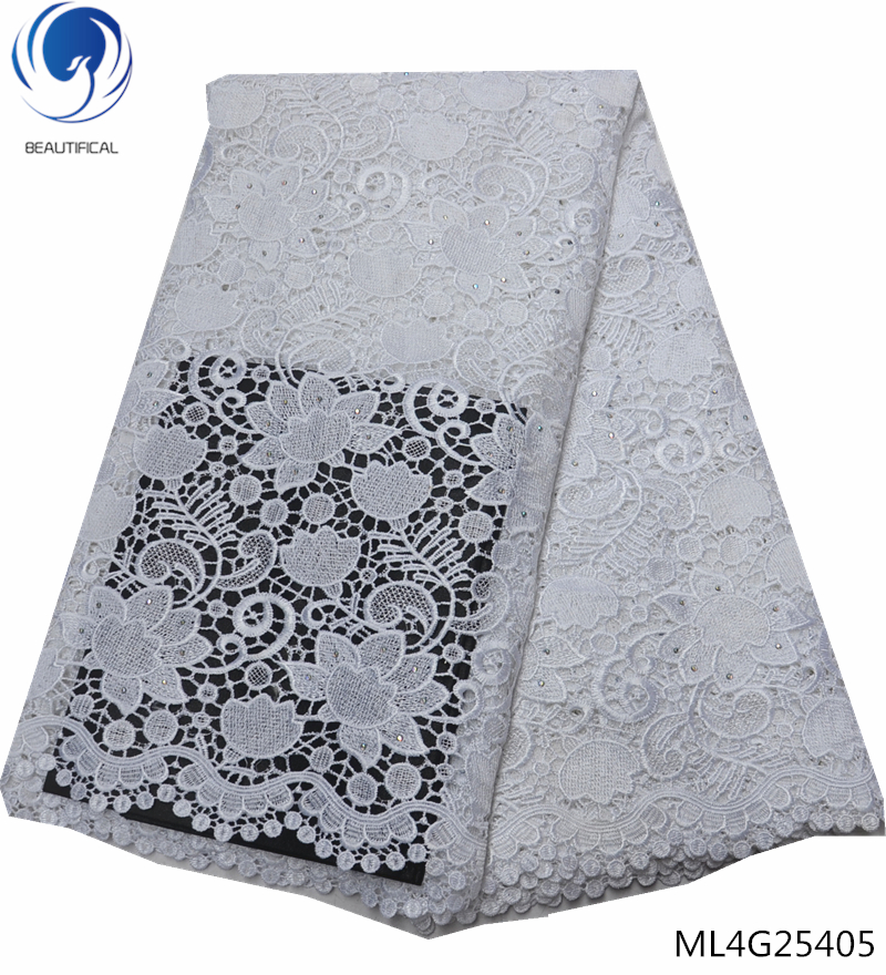 BEAUTIFICAL white african guipure lace fabric for dress wedding 5 yards new cord guipure fabric french lace ML4G254BEAUTIFICAL white african guipure lace fabric for dress wedding 5 yards new cord guipure fabric french lace ML4G254
