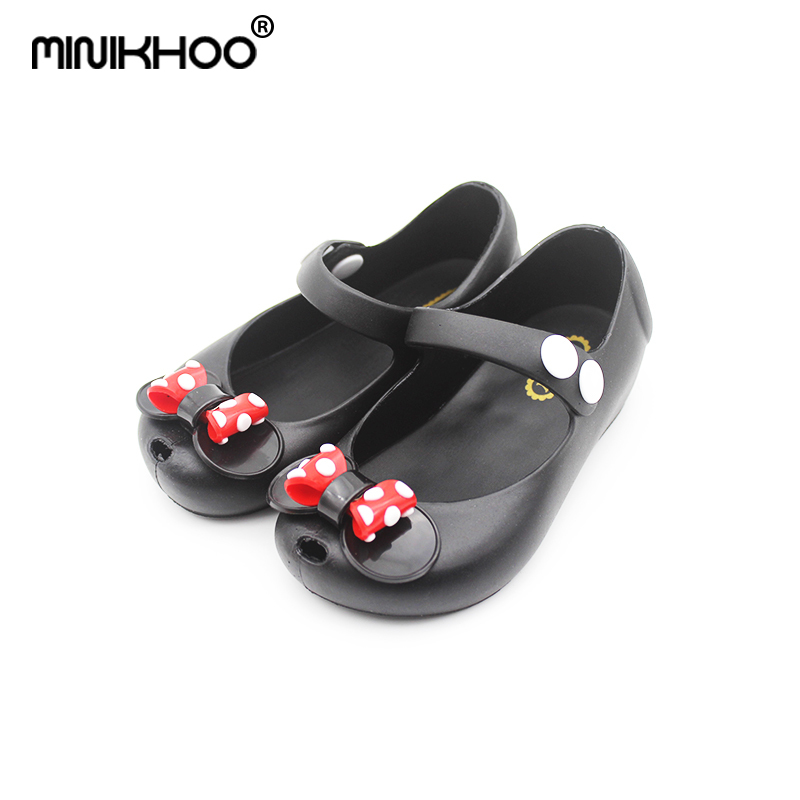 Mini Melissa 2019 New Mickey Bowknot Jelly Princess Sandals Shoes Girl Jelly Sandals Baby Jelly Sandals Mini Melissa Shoes