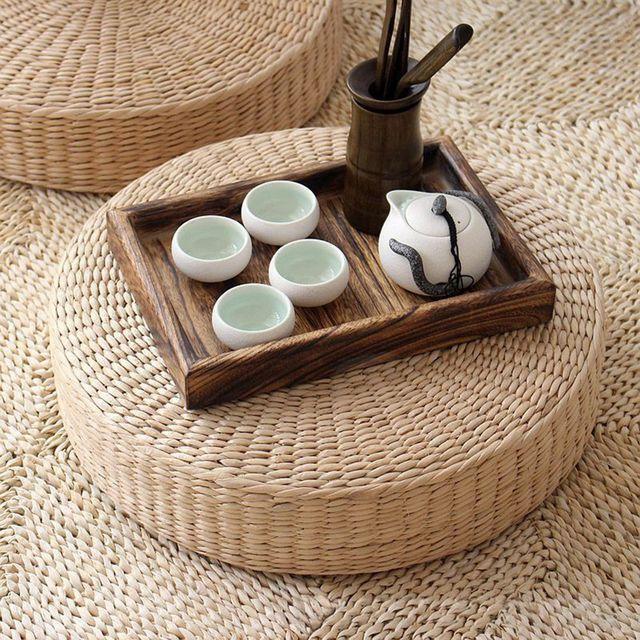 40cm Tatami Cushion Round Straw Weave Handmade Pillow Floor Yoga Chair Seat Mat