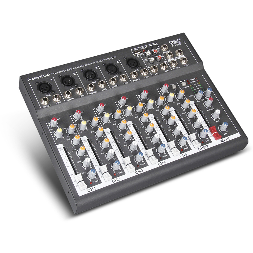 7 Channel Professional USB Jack Portable Audio Mixer bluetooth Record Phantom Power Live Studio Audio DJ