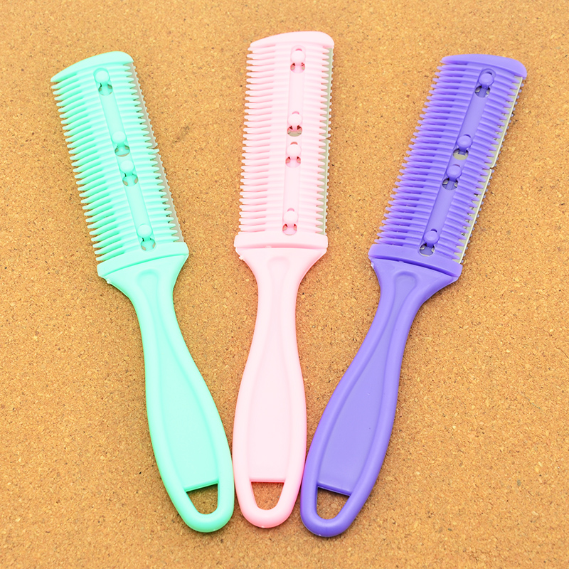 1Pcs 3 Colors Hair Razors Comb Handle Hair Razor Cutting Thinning Comb Home DIY Trimmer Inside With Blades Hair Brushes HC0001