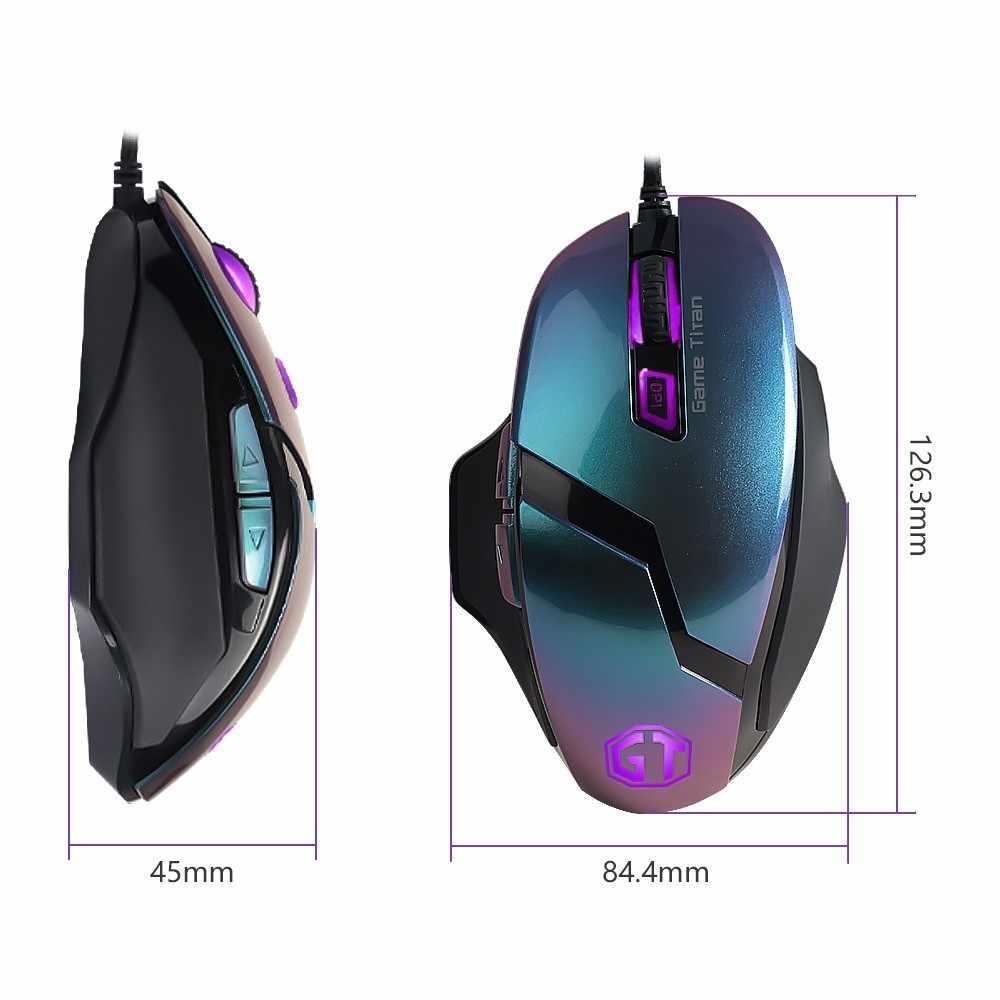 Delux M612Pro Wired Gaming Mouse 4000 DPI 6 Tombol Mouse Optik dengan 5 Lampu LED Tombol Yang Dapat Diprogram untuk Windows XP vista Gamer