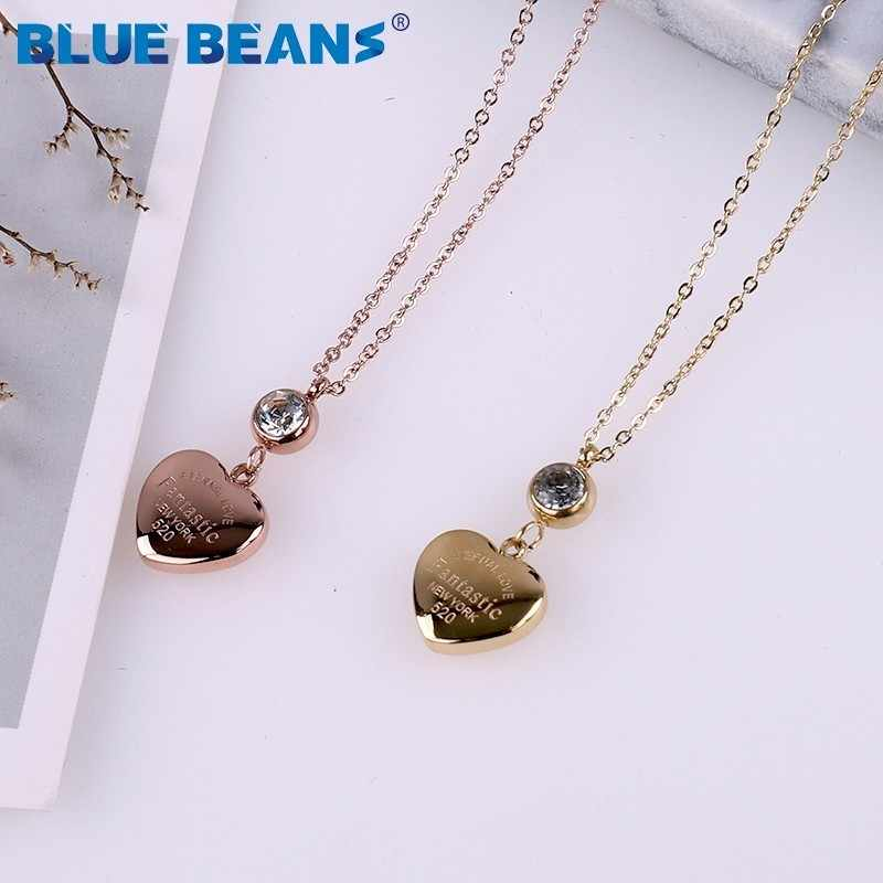 Stainless Steel Fashion tiff Necklace love Heart luxury Crystal For Pendants long Chain Women Rose Gold Color Choker Jewelry