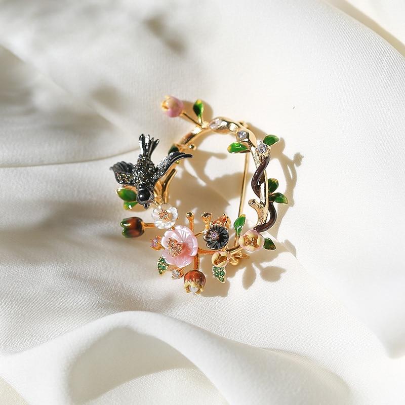 Vanssey mode bijoux fleur oiseau naturel nacre émail ovale broche broches mariage accessoires pour femmes 2019 nouveau
