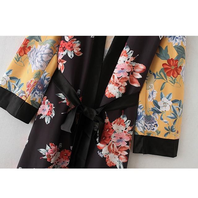 Flower Print Kimono Boho Long Loose Casual Robe with Belt 6