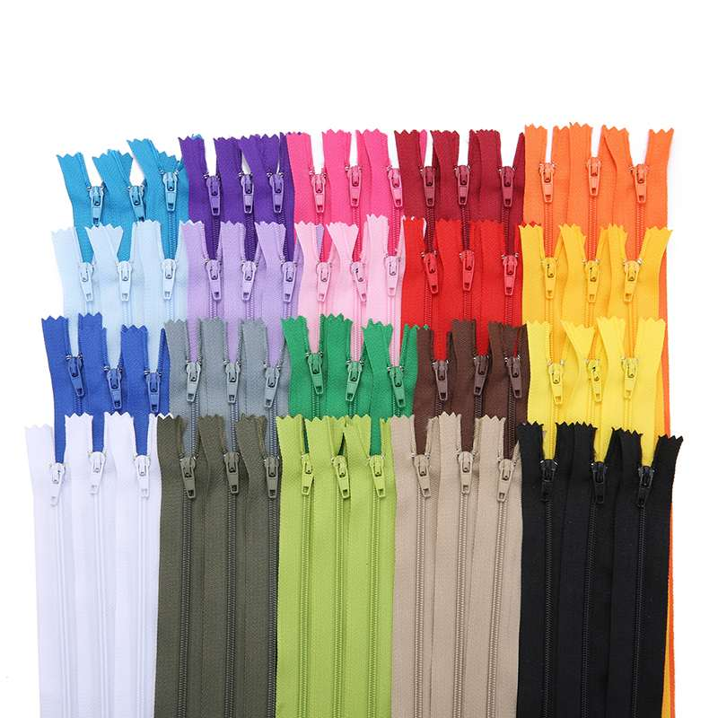 70 pçs 18 cores 30cm fecho de correr de náilon para calças de saia fechamento de zíper de renda diy para costura prendedor roupas acessórios de costura