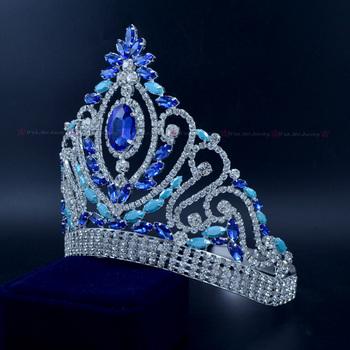 Korona dla miss niebieski ślub diadem dla panny młodej austriacki kryształ Rhinestone panny młodej chluba piękno Prom stroje imprezowe Hairwear mo226 tanie i dobre opinie Miedzi CN (pochodzenie) TRENDY Moda Tiaras PLANT Kobiety