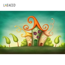 Laeacco Fairy Tale Cartoon Mushroom House Photography Backgrounds Customized Photographic Backdrops For Photo Studio