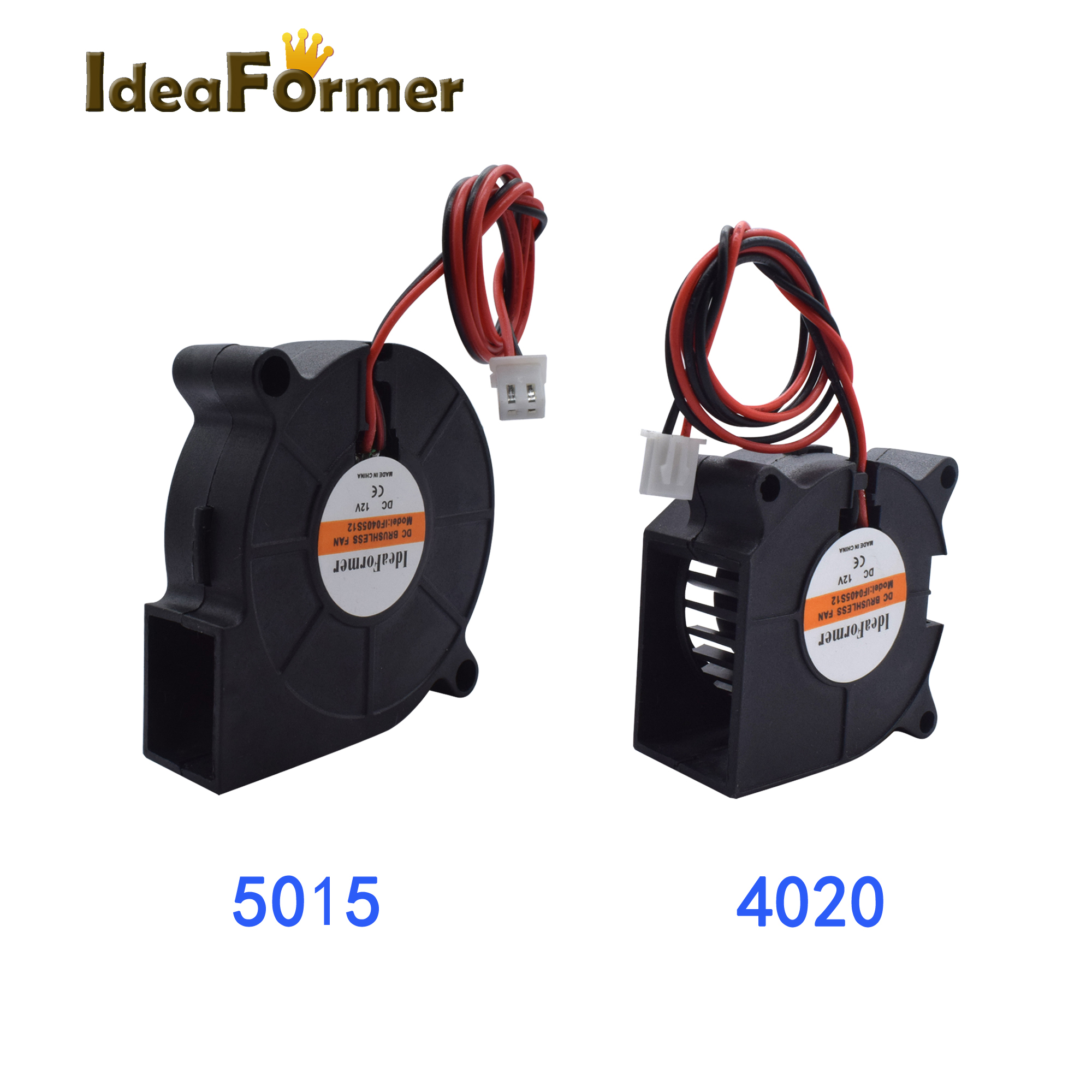 1pc 3D Printer Reprap Parts Blower Fan 40*20*20mm/50*50*15mm Cooling Fan DC12/24V With 2Pin XH2.54 Terminal.