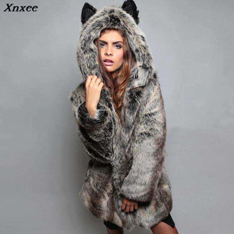 Xnxee Winter Women Faux Fox Fur Coat 2018 Casual Plus Size Hooded Fur Jacket Coat Cat Ear Warm Long Sleeve Jacket Overcoat 3XL