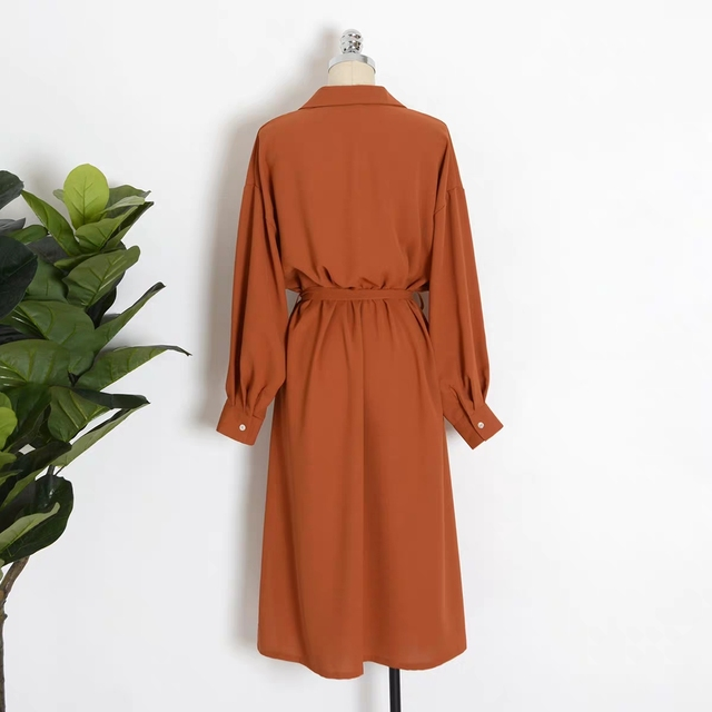 Flectit Business Chic Women Midi Shirt Dress with Bow Button Up Long Sleeve Spring Summer Dress Office Lady Outfit * 1