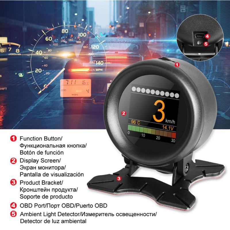 AUTOOL X60 OBD Meter OBD2 HUD Head Up Display Digital Auto Spannung Temperatur Gauge Geschwindigkeit Meter Display Überdrehzahl Warnung Alarm