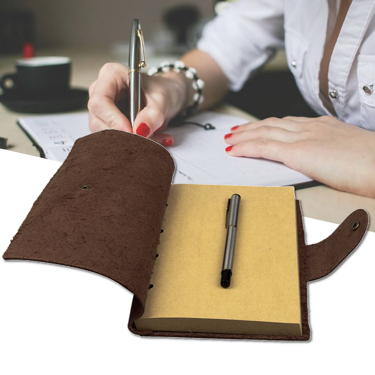 1Pcs Vintage Kraft Paper Notebook Leather Diary Journals Notepad School Office Stationery Supplies Gift Traveler Journal