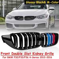 Pair Glossy Black & M Color Front Double Slat Kidney Grille For BMW F32 F33 F36 F82 F80 4 Series 2013 2014 2015 2016