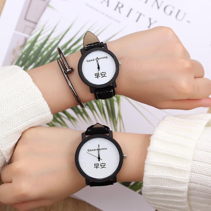 Couple Watch Fashion Lovers Hot Selling Quartz Watch Leather Quartz Analog Wrist Watches For Unisex Chronograph 2019 Women Men
