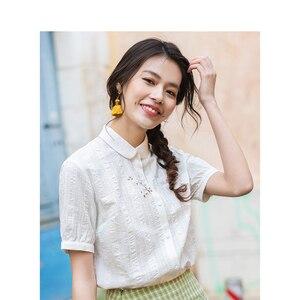 Image 2 - INMAN قميص نسائي صيفي بأكمام قصيرة ضيقة غير رسمية بأكمام قصيرة ومطرز بشكل أدبي