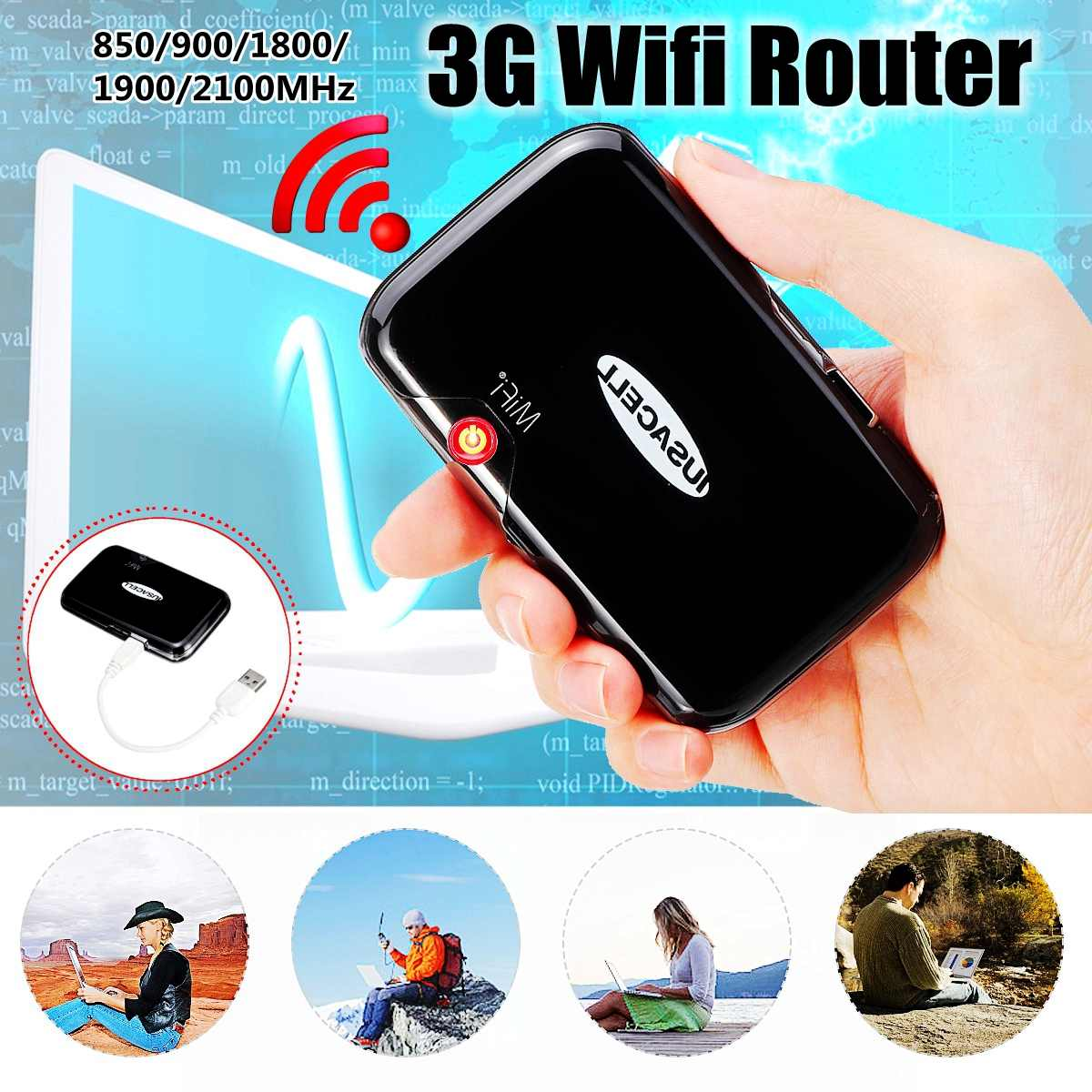 MF2372 3G Pockets Wifi Router Portable Car Mobile Wifi Hotspot Wireless Broadband Unlockeds Modem 850/900/1800/1900/2100MHz-in Wireless Routers from Computer & Office