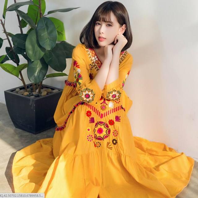 Korean design dress Mori Girl Thailand Nepal 2019 women Embroidery beach  bohemian dress casual vestido de festa robe brand 1fc1302e5c30