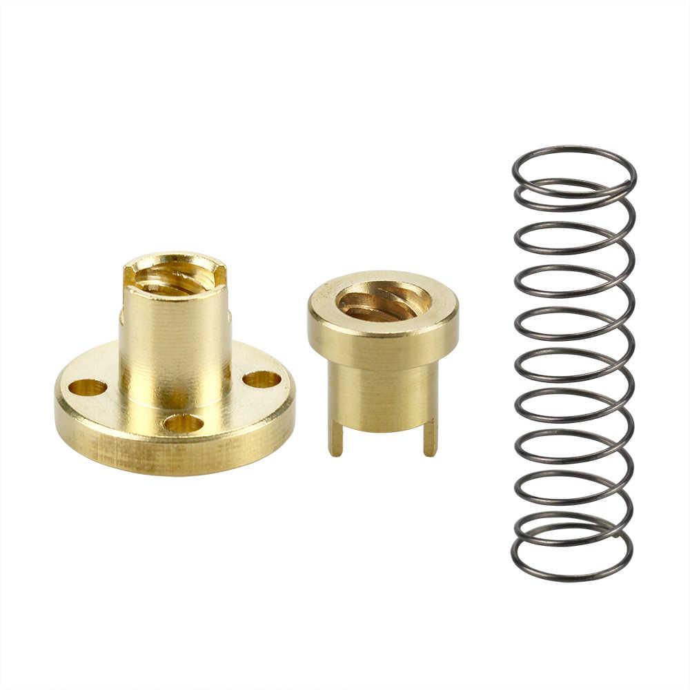 Anti-Backlash Nut + 200mm 300mm 400mm 500mm T-type Stepper Motor  Trapezoidal Lead Screw 8MM Thread 8mm T8 For 3D Printer & CNC