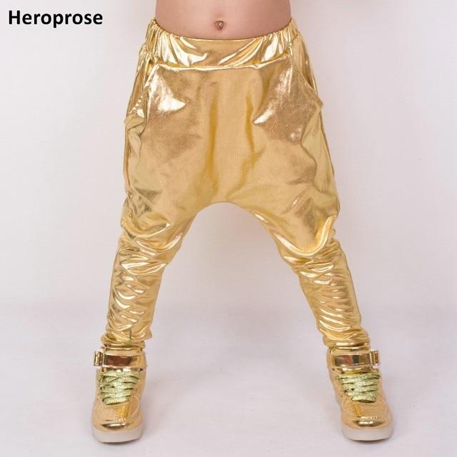 Heroprose ファッション子供の 2018 春夏ヒップホップダンスハーレムゴールドレジャースポーツキッズボーイズビッグ股スリムスキニーパンツ