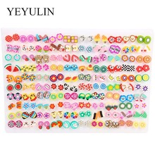 100Pair/lot Multi-style Colorful Fruit Flower Geometric Crystal Stud Earrings Set For Women Girls Alloy Jewelry Gifts