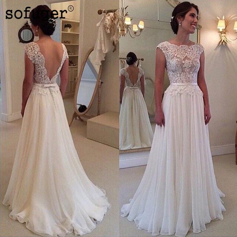 Custom Made Lace Wedding Dress 2019 Stunning Cheap Beach Sleeveless A Line Sexy Backless Cap Sleeve Chiffon Vestidos De Noiva