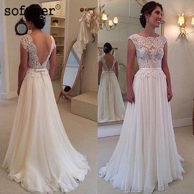 Made Lace Wedding Dress 2019 Stunning cheap Beach Sleeveless A Line sexy backless Cap Sleeve chiffon Vestidos De Noiva
