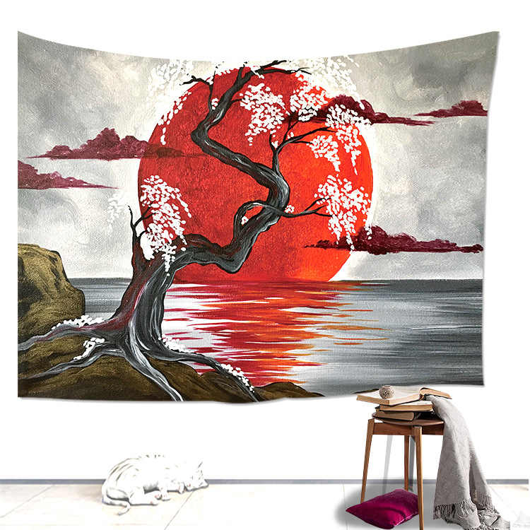 Loartee Japanese Lake Crimson Moon Sakura Cherry  Tree Tapestry Oil Painting Cloth Home Wall Hanging Decoration