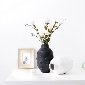 American Creative Design Planter 3D Lips White Nordic Ceramic Decorative Vase Plant Art Flower Pots Holder Garden