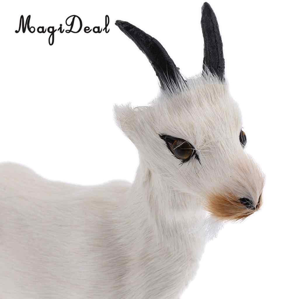 MagiDeal 1 قطعة واقعية فو الفراء Stanidng الماعز نماذج للحيوانات أرقام لطيف ألعاب من نسيج مخملي للطفل الاطفال المنزل غرفة نوم سيارة الديكور