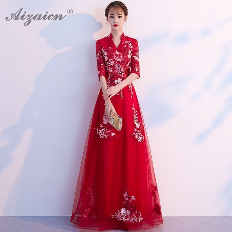US $61.2 |2019 New Red Embroidery Bride Wedding Qipao Plus Size Cheongsam  Moderm Dress Chinese Oriental Dresses Robe Chinoise Femme Qi Pao-in ...